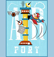 airport control tower cartoon with funny pilot vector image