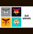 assembly of flat icons on theme evil animals vector image vector image
