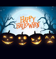 banner cartoon halloween pumpkins on blue backgrou vector image