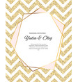 beautifil wedding invitation with golden glitter vector image