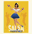 beautiful girl dancing salsa with maracas retro vector image
