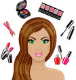 beautiful woman and various cosmetics vector image vector image