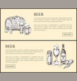 beer barrel bottle can glass and snack landing vector image