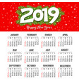 calendar new year 2019 red design template vector image vector image
