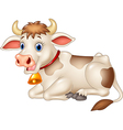 Cartoon funny cow sitting isolated vector image