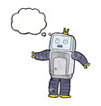 cartoon funny robot with thought bubble vector image