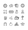 Casino Icon Black Outline Set vector image vector image