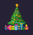 christmas tree with bulbs gifts and xmas balls vector image