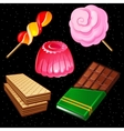 compositions sweets five different icons vector image