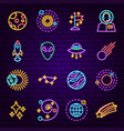 cosmic neon icons vector image