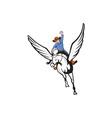 Cowboy Riding Pegasus Flying Horse Cartoon vector image vector image