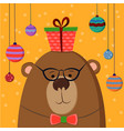 cute hand drawn card as funny bear with gift and vector image vector image