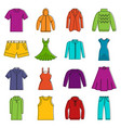 different clothes icons doodle set vector image vector image