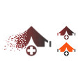 disappearing pixel halftone field hospital icon vector image vector image