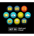 Flat icons set 50 - mail and cloud collection vector image vector image