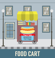 Food Cart In Front Of Vintage Building Ill vector image vector image