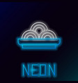 glowing neon line asian noodles in bowl icon vector image vector image
