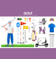 golf sport equipment golfer player garment vector image