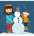 Happy winter time Snowman dad and daughter vector image