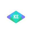 initial letter logo ke template design vector image