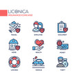 insurance - coloured modern single line icons set vector image vector image