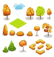 Isometric autumn tree set Landscape vector image