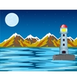 lighthouse by night vector image vector image