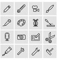 line art tool icon set vector image vector image