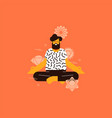 man doing lotus pose yoga with chakra icons vector image vector image