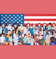 mix race people in masks celebrating american vector image vector image