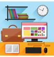 Modern home office interior with computer on desk vector image vector image