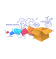 paper packages box fast delivery services concept vector image