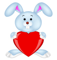 Rabbit with red heart vector image vector image