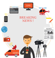 Reporter and News Icons Frame vector image