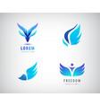 set blue wings logos vector image vector image