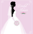 silhouette of a young bride in a wedding dress vector image vector image