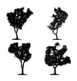 silhouette tree set on white background vector image vector image