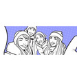 sketch of young people group making selfie photo vector image vector image