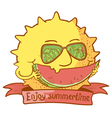 sun character with watermelon vector image