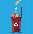 trash recycle bin container full of plastic things vector image vector image