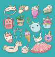 unicorn cartoon kids accessories or vector image vector image
