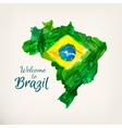 Watercolor hand drawn Brazilian map Welcome to vector image vector image