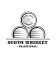 wooden whiskey barrel vector image