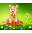 Cute baby bear holding honey on tree stump vector image
