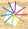 Color pencil and paper on desk vector image