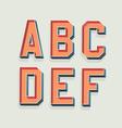 Retro 3D Font with shadow Vintage Alphabet vector image