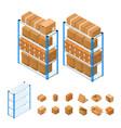 warehouse shelves set isometric view vector image