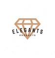 Diamond logo hand drawn vintage design element vector image