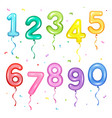 set of colorful number shaped