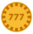 777 gold casino chip vector image